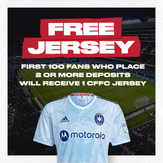 FREE JERSEY - FIRST 100 FANS WHO PLACE 2 OR MORE DEPOSITS WILL RECEIVE 1 CFFC JERSEY